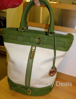 Michael Kors Kingsbury Medium Tote Handbag Bag Canvas Green Brand New