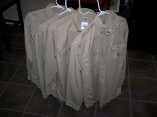 Carhartt Khaki FR Flame resistant shirts FRS160 KHI Medium HRC2
