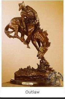 OUTLAW by Frederic Remington Bronze Handcast Statue Sculpture w Marble