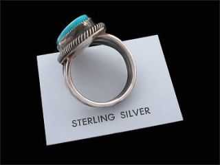 Leon Martinez Navajo Turquoise and Sterling Silver Ring (7 3/4)