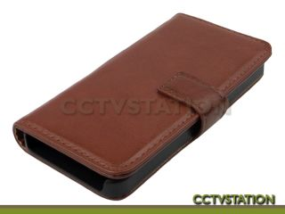 Brown Leather Wallet Case Folding Stand Cover ID Slot for Apple iPhone