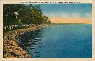 Geneva New York NY 1940 Seneca Lake Park Pavilion Beach Vintage Linen