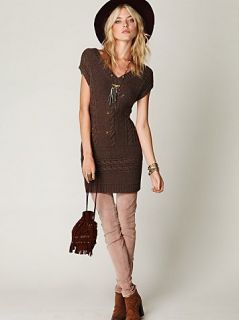 New Free People Wool Blend Cable Autumn Garden Sweater Dress Tunic XS