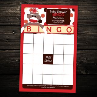 Cute Sock Monkey Baby Shower Bingo Cards Game Activity Any Color