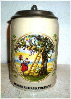 Hofbrauhaus Freising Boy Girl Lidded German Beer Stein