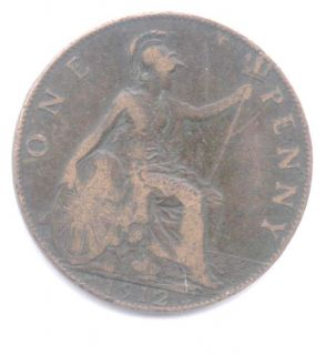 1912 George V Penny with The Heaton Mint Mark Good
