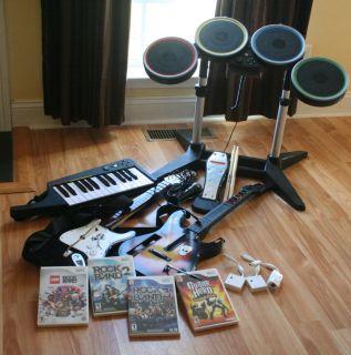 Rock Band Guitar Hero Wii Bundle  Guitars, Keyboard, Drums, Mic. with