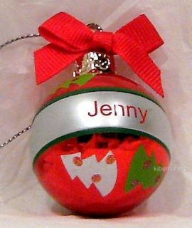 GANZ Christmas Tree Ornament Mini Ball Name JENNY Personalized Red 1 5