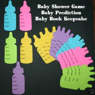 Cute Bright Baby Shower Game 25 Prediction Bottles