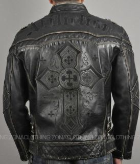 Affliction Gear Up Mens Biker Leather Jacket Motorcycle Cross Rock