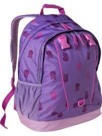 New Gap Kids Printed Backpack Lunch Box Purple Skull
