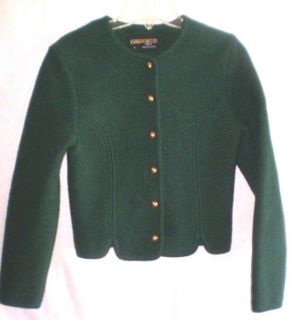 Womens Geiger Tyrol Austria Boiled Wool Jacket Dark Green 36 Small S