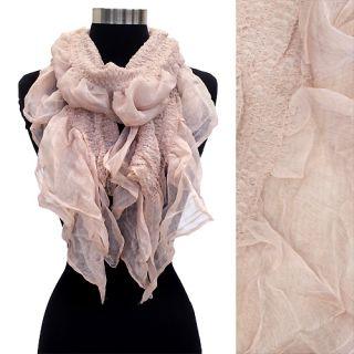 Soft Lightweight Silk Cotton Ruffle Scarf Pink