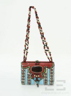 Mary Frances Red & Blue Beaded Turquoise Trimmed Fringe Handbag