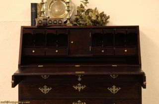 Victorian Oak 1880 Secretary Desk, Secret Drawers