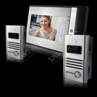 LCD Video Door Phone Intercom Kit 2 Outdoor Unit +1x 7 Indoor Unit