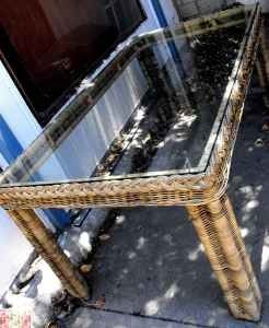 Exceptional Large Vintage Wicker and Glass Table Patio Garden