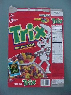 1994 General Mills Trix cereal with toy chalkboard box intact on back