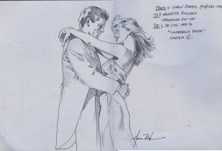 Original Garin Baker Sketch Drawing Cinderella Bride
