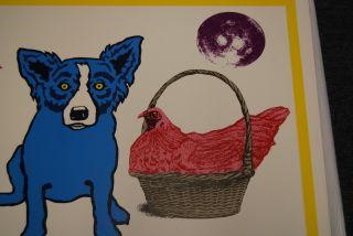 FTI George Rodrigue Blue Dog Chicken in A Basket White RARE Print