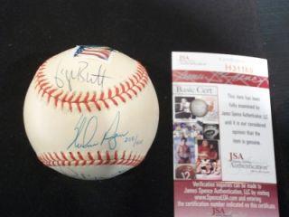 1999 HOF Nolan Ryan George Brett Robin Yount Signed Baseball JSA Holo