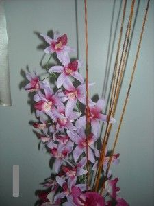 Hand Crafted Silk Flower Cymbidium Orchid Arrangement Vase