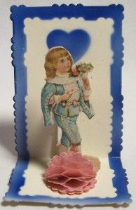 vintage 1920s~30s folding VALENTINE CARD, boy, bouquet To my