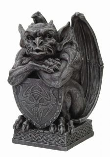 GARGOYLE HOLDING SHIELD STATUE.GOTHIC GUARDIAN FIGURINE.COLLECTIBLE