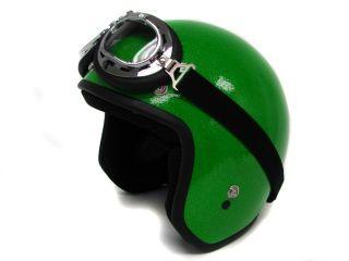 Flake Motorcycle Helmet Vintage Green Open Face Racer HELMET+GOGGLES~S