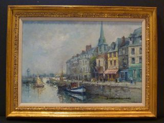 Harbor French Impressionist Oil by Rouault Well Listed Artist
