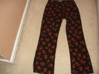 Womens Jones New York Sport Floral Print Stretch Corduroy Pants Size 8