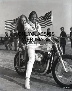 George Hamilton as Evel Knievel Harley Davidson XR750 Motorcycle Photo