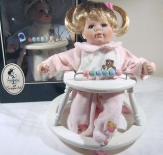 Geppeddo Porcelain Baby Doll Debbie in Walker Playtime Series Great