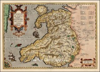 Cymru Wales Repro Antique Colour Map by Gerard Mercator