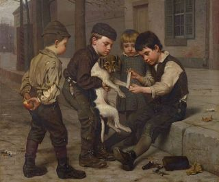 John George Brown The Wounded Playfellow Painting Repro