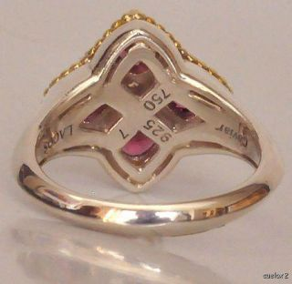 New Lagos 18K Gold SS Rhodolite Garnet Flower Ring Sz 7