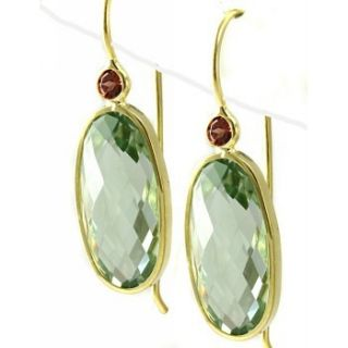 Oval Green Amethyst Garnet Dangle Drop Earrings 14k Yellow Gold