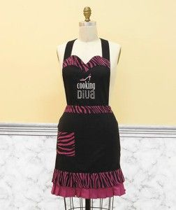 Diva Apron IN STOCK Shoe Animal Print Black Purple Funny Kitchen Gift