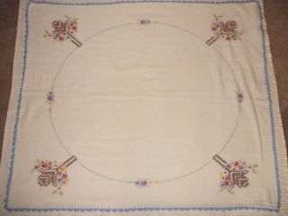 White Raw Cotton Tablecloth w Embroidery Floral Bouquet & Basket 36 x