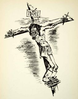 Lithograph Jesus Gas Mask Modern Convenience George Grosz Crucifix
