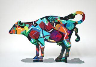 David Gerstein Modern Steel Art Tikva Cow Contemporary Metal Art