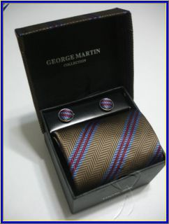 New George Martin Silk Tie Cufflink Hanky Stripes Suit