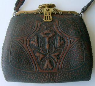 Nouveau Hand Tooled Leather Handbag Meeker Made Turn Loc Clasp