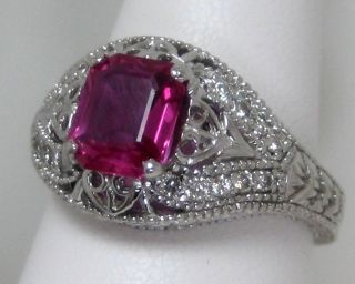 GIA Certified Appraised Ruby Ring Diamond 18K White Gold Appraisal 10
