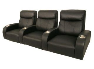 Home Theater Seating 3 Front Row Seats Black Leather Chairs