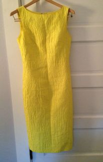 Giambattista Valli Yellow Linen Silk Dress Size Italian 42