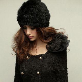 Autumn 100 Genuine Rabbit Fur Furs Hats Lady Girls Women Stylish 5