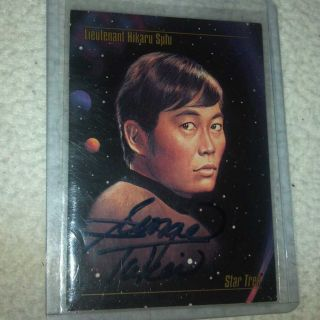 Star Trek TOS Auto Card George Takei Autograph as Sulu Hand Signed