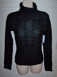 NEW GEORGE MARTHA BLACK CABLE KNIT SWEATER WOMENS SIZE MEDIUM 40