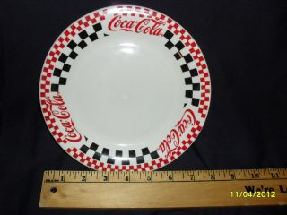 1997 Coca Cola Coke Gibson 8 Saucer Plate Checkered Diner Style